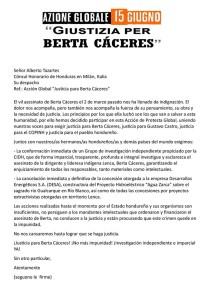 azione globale giustizia per Berta - 15.06.16