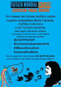 tuitazo mundial 4 de julio #justicia para berta 2