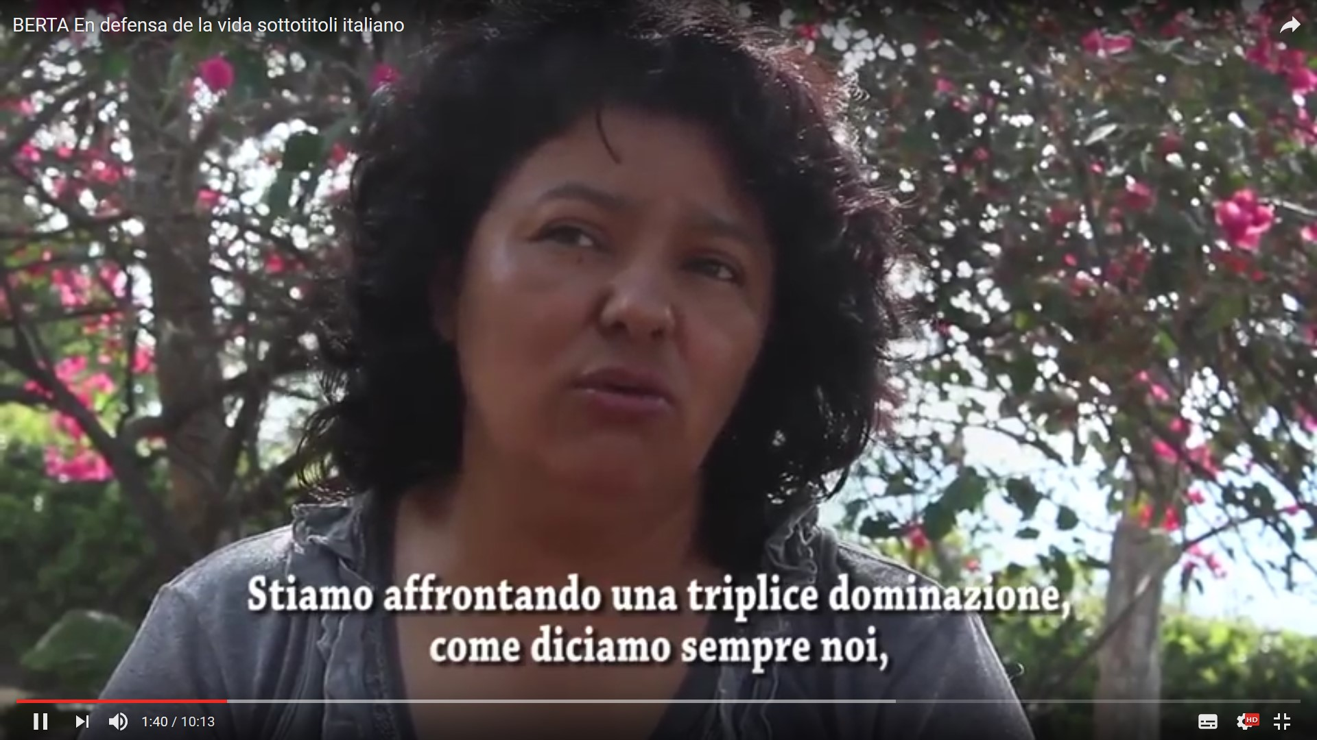 Video Berta en defensa de la vida