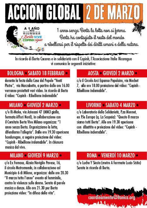 azione globale berta copinh 2 marzo Italia